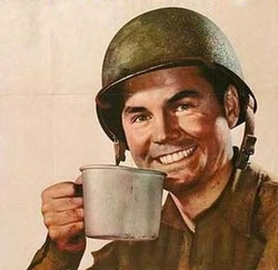Solider drinking coffee